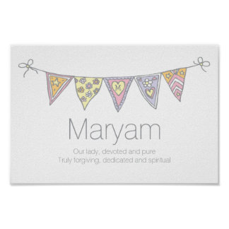 Meninas nome de Maryam e poster da estamenha do