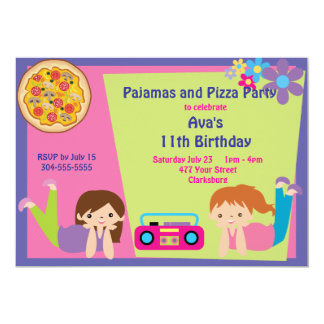 Meninas pijama & partido da pizza convite