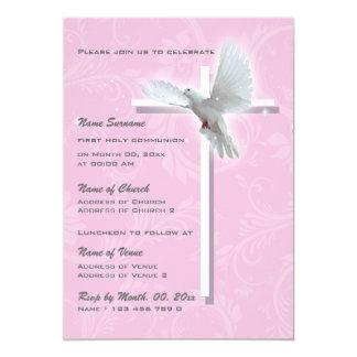 Meninas religiosas da confirmação do comunhão do convite 12.7 x 17.78cm