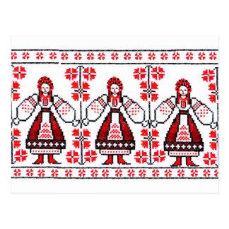 Meninas ucranianas tradicionais de Ucrânia do Cartão Postal