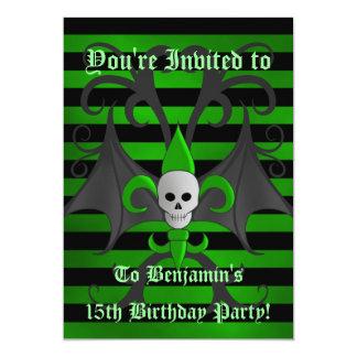 Menino adolescente da festa de aniversário bonito convite 12.7 x 17.78cm