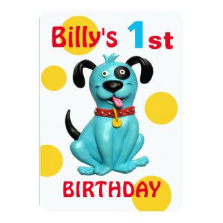 Menino azul bonito do cão de filhote de cachorro convite 12.7 x 17.78cm