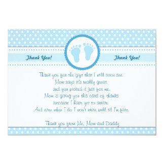 Menino azul dos cartões de agradecimentos do chá