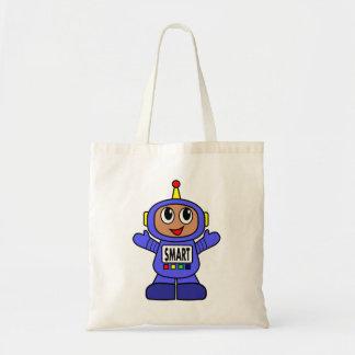 Menino azul lunático do robô do afro-americano sacola tote budget