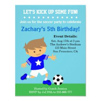 Menino bonito do futebol, festa de aniversário convite 10.79 x 13.97cm