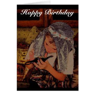 Menino com lâmpada mágica - cartão de aniversário