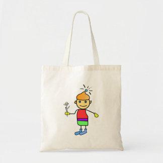 Menino com uma flor em um desenho animado da mão bolsas