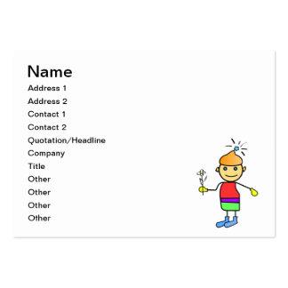 Menino com uma flor em um desenho animado da mão cartões de visitas