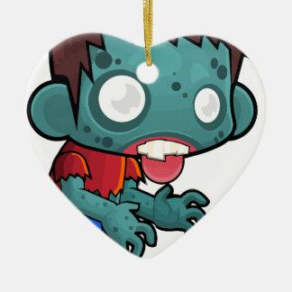 Menino cómico do zombi ornamento de cerâmica coração