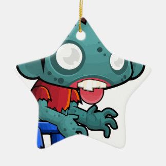 Menino cómico do zombi ornamento de cerâmica estrela