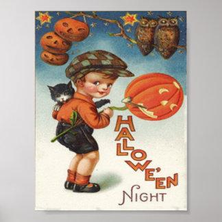 Menino da coruja do gato da lanterna de Jack O da  Poster