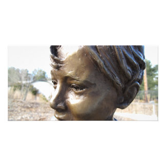Menino de bronze cartoes com fotos personalizados