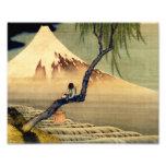 Menino de Hokusai que vê o vintage do japonês de Impressão De Foto