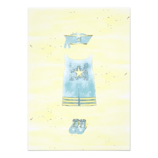 Menino de marinheiro dos azuis bebés convites personalizados