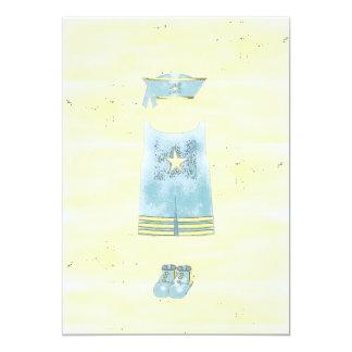 Menino de marinheiro dos azuis bebés convite 12.7 x 17.78cm