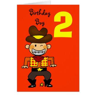 Menino do aniversário da criança de 2 anos cartão comemorativo