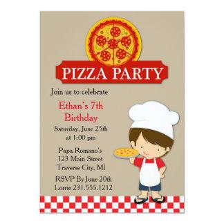 Menino do aniversário do partido da pizza convite 12.7 x 17.78cm
