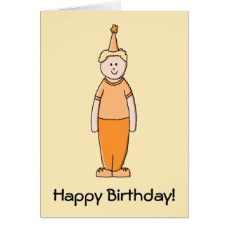Menino do aniversário, na laranja cartão comemorativo