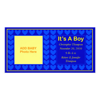 Menino do anúncio do bebê cartões com fotos personalizados