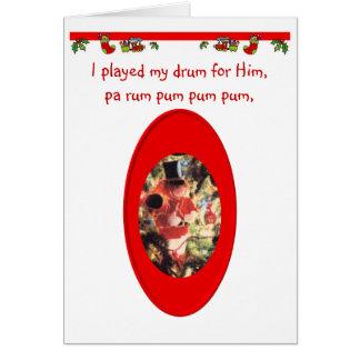 Menino do baterista do Natal Cartão Comemorativo