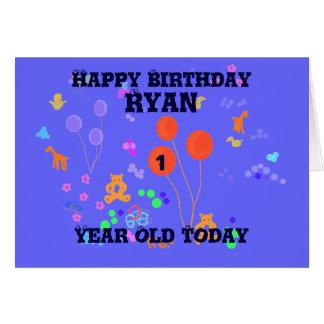 Menino do bebê de um ano do feliz aniversario cartão comemorativo