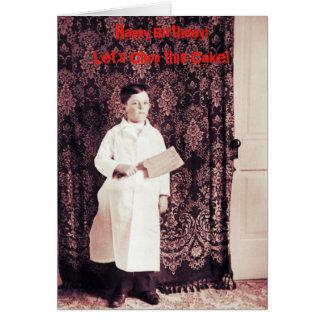 menino do carniceiro dos 1890's com o cartão de