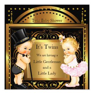 Menino do chá de fraldas e louro gêmeos do ouro da convite quadrado 13.35 x 13.35cm