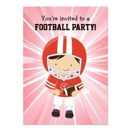 Menino do futebol na festa de aniversário vermelha convites