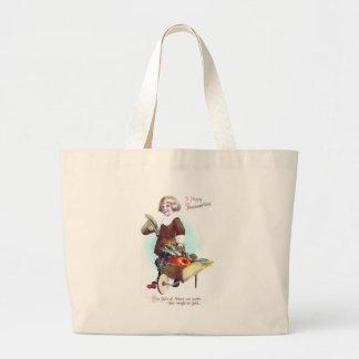 Menino do peregrino e carrinho de mão das frutas & sacola tote jumbo