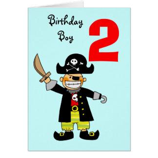 Menino do pirata da criança de 2 anos cartão comemorativo