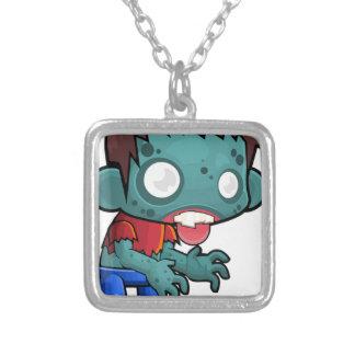 Menino do zombi cómico colar banhado a prata