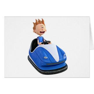Menino dos desenhos animados em um carro abundante cartão comemorativo
