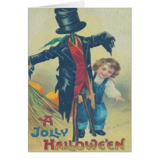 Menino & espantalho cartão comemorativo