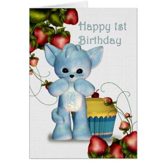 Menino feliz do primeiro aniversario cartão comemorativo