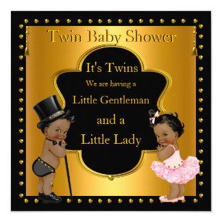 Menino gêmeo e menina do chá de fraldas étnicos convite quadrado 13.35 x 13.35cm