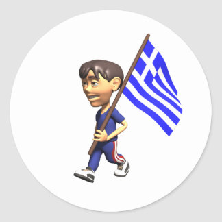 Menino grego adesivos em formato redondos