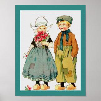 Menino holandês bonito & menina do vintage com pôster