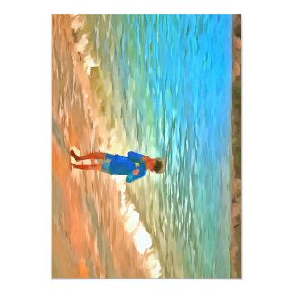 Menino na praia convite 11.30 x 15.87cm