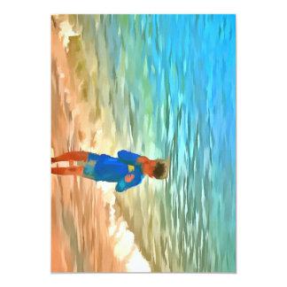 Menino na praia convite 12.7 x 17.78cm