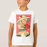 Menino retro do vintage com o cartão dos namorados camiseta