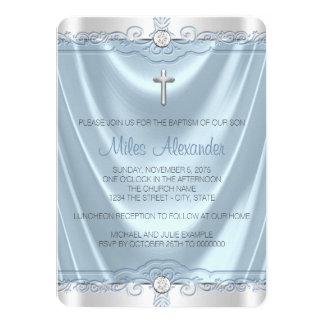 Meninos azuis e batismo de prata do baptismo convite 11.30 x 15.87cm