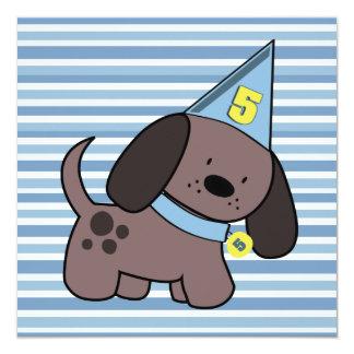 Meninos da festa de aniversário do filhote de convite personalizados
