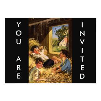Meninos de país do vintage no celeiro convite 12.7 x 17.78cm