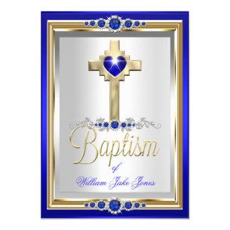 Meninos do batismo do baptismo ou pérola azul convite 12.7 x 17.78cm
