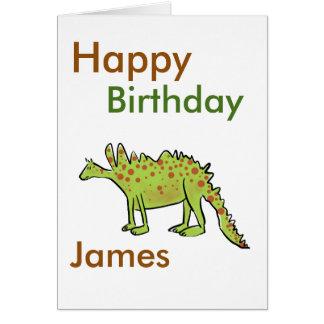 Meninos do dinossauro verde dos desenhos animados cartão comemorativo