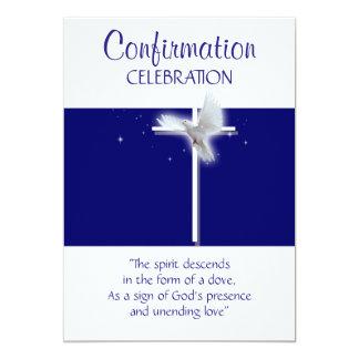 Meninos religiosos da pomba da confirmação azuis convite 12.7 x 17.78cm