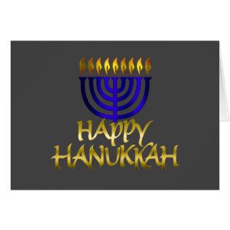 Menorah azul arde o cartão feliz de Hanukkah