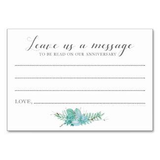 Mensagem aos cartões do Succulent dos noivos