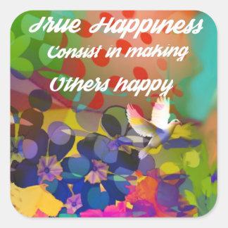 Mensagem da felicidade de Voltaire. Adesivo Quadrado