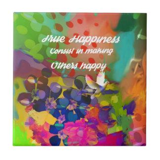 Mensagem da felicidade de Voltaire. Azulejo Quadrado Pequeno